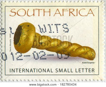 GOMEL, BELARUS, APRIL 21, 2017. Stamp printed in South Africa shows image of  The Gold Scepetre, circa 2009.