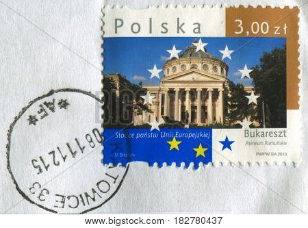 GOMEL, BELARUS, APRIL 21, 2017. Stamp printed in Poland shows image of  The Romanian Athenaeum is a concert hall in the center of Bucharest, Romania, circa 2010.