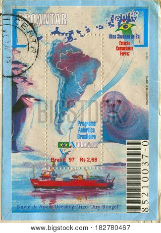 GOMEL, BELARUS, APRIL 21, 2017. Stamp printed in Brazil shows image of  The Brazilian Antarctica is the name of the Antarctic territory, circa 2004.