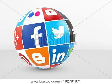 MILAN ITALY - DECEMBER 7 2015: Social media and network logotypes of famous Internet brand's like Facebook Twitter Linkedin and YouTube printed on a globe.