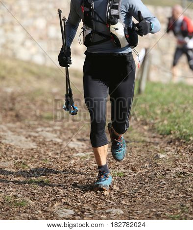 Runner Runs In The Mountains With Nordic Walking Sticks