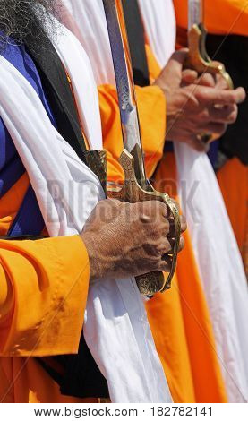 Hands Of The Sikh Religious Men During The Ceremony