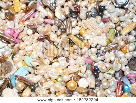 Background Of Pearls To Create Necklaces
