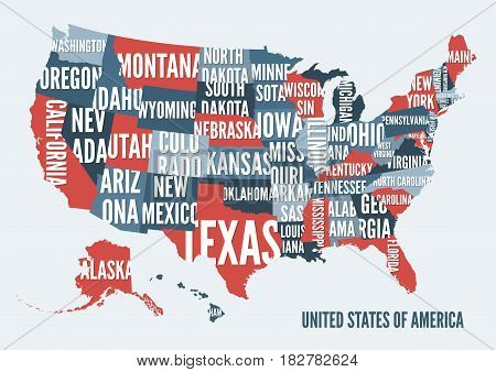 United  States of America map print poster design. Vector illustration.