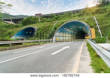 highway entrance to the tunnel