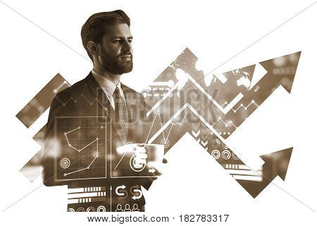 Handsome european businessman drinking coffee on abstract night city background with business chart arrows. Growth concept. Double exposure