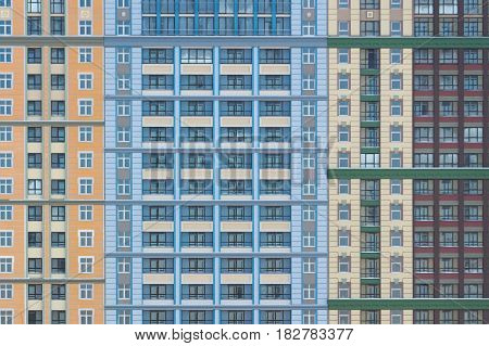 Abstract pattern with front view of a modern bulding facade