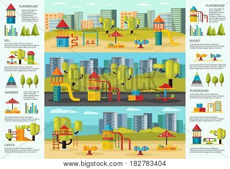 Colorful playground infographic concept with carousels slides sandbox swing and hills on cityscapes vector illustration