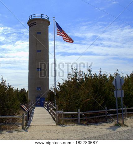 WWII Fire Control Tower Cape May NJ.  Used during WW2 to monitor the US coast for enemy fire from submarines and other vessels.