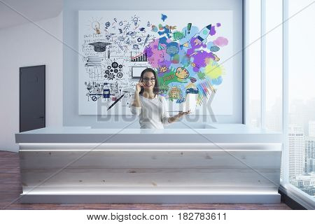 Creative and analytical thinking. Young businesswoman talking on phone at reception with mathematical formulas and colorful sketch. 3D Rendering