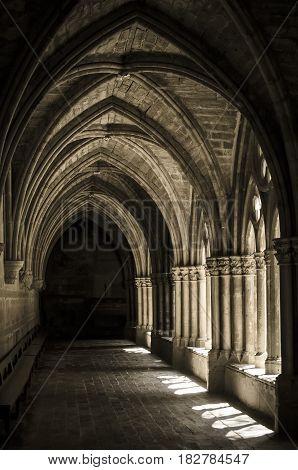 Cloister Of Veruela Monastery In Aragon, Spain
