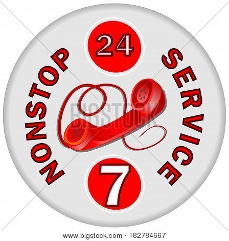 Nonstop phone service emblem in red design