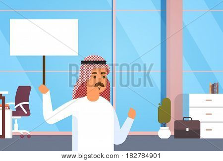 Arab Business Man Hold Banner Empty Copy Space Entrepreneur In Modern Office Flat Vector Illustration