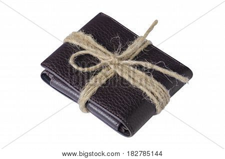Purse in gift with bow rope on white background