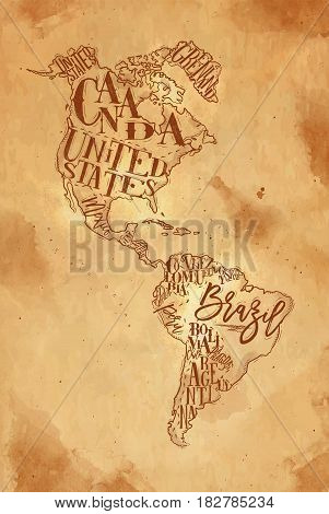 Vintage america map with country inscription united states canada mexico brasil peru argentina drawing on craft background