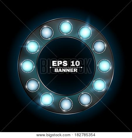 Illuminated round advertising banner made of blue neon bulbs. The theme of the casino and various show programs. Realistic vector illustration. Shining glass. Lamps are sparkling in the dark. Retired lights. EPS 10