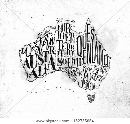 Vintage australia map with regions inscription western northern south australia queensland victoria tasmania drawing on dirty paper background