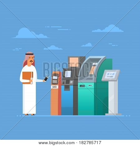 Arab Man Using Atm Machine Cell Smart Phone Mobile Payment, Islam Businessman Wearing Traditional Clothes Flat Vector Illustration