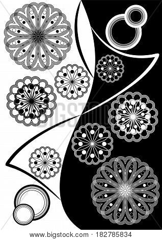 Fine black white inverse composition with geometric stars and patterns