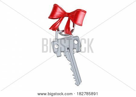 Car key with red bow 3D rendering isolated on white background