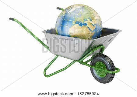 Garden wheelbarrow with Earth Globe 3D rendering isolated on white background