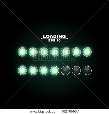 Loading. Realistic round lamps are green. Neon flashlights glow in the dark. Beautiful glow. Realistic vector illustration for web. Metal structure of the bulb. New technologies. EPS 10