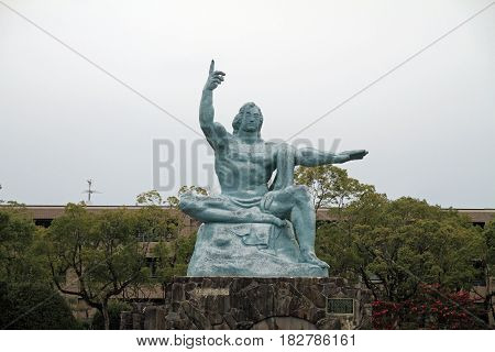 Peace Statue In Peace Park, Nagasaki, Japan