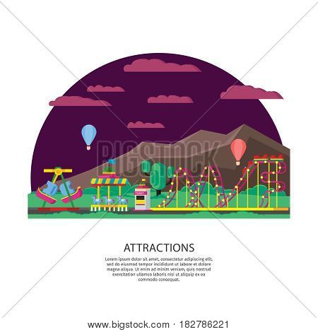 Amusement park or funfair concept with roller coaster swing attraction ticket window and balloons vector illustration