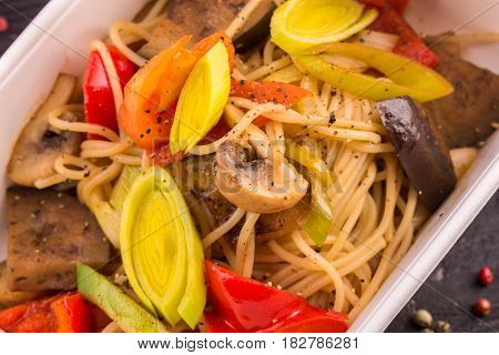 Spaghetti, eggplant, tomatoes, leek, pepper sweet, champignon mushrooms