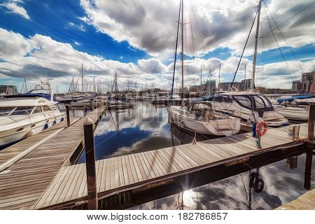 Ipswich Marina waterfront on a vibrant spring day