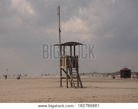 Rescue tower at the beach. Chioggia Beach, Italy, before a thunderstorm. poster