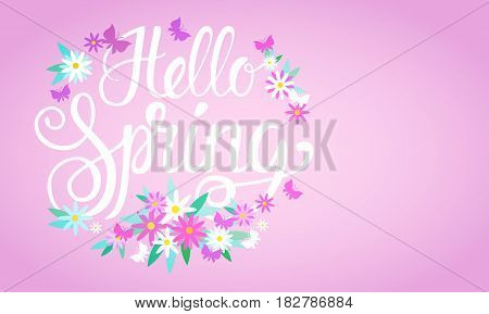 Hello Spring Season Text Banner Abstract Flowers Background Flat Vector Illustration