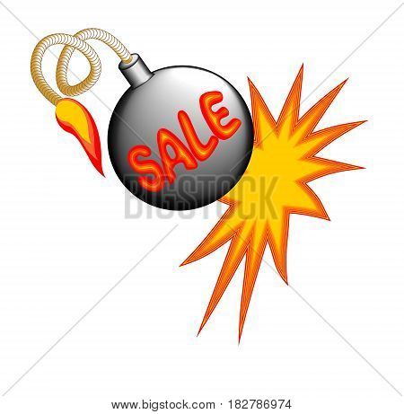Sale billboard with exploding bomb on the white background