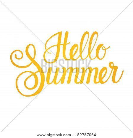 Hello Summer Season Text Banner Over White Background Background Flat Vector Illustration
