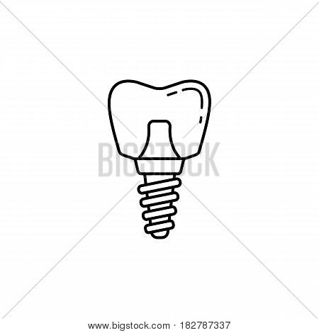 Dental implant line icon, Dental and medicine, vector graphics, a linear pattern on a white background, eps 10.