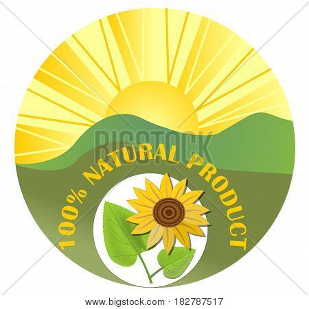 Contrasting circle label for natural product with sun green landscape and sunflower