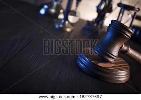 Law concept. Lawyers office. Mallet of the jugde. Scale of justice.