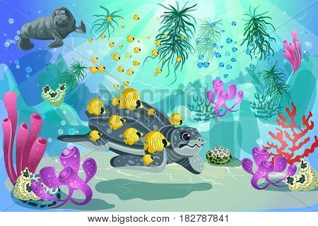 Colorful underwater marine landscape template with swimming turtle walrus fishes and natural plants and seaweeds vector illustration
