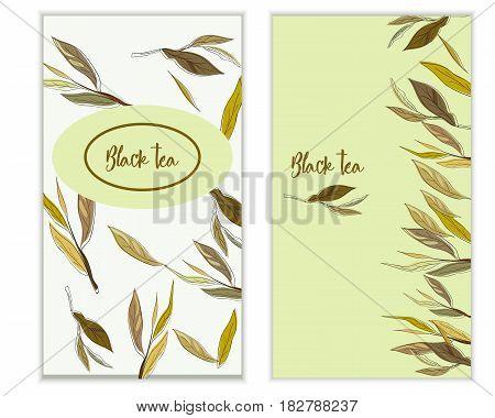 Vector Black Tea Banner With Tea Leaves On White Backgroud. Design For Packaging, Tea Shop, Drink Me