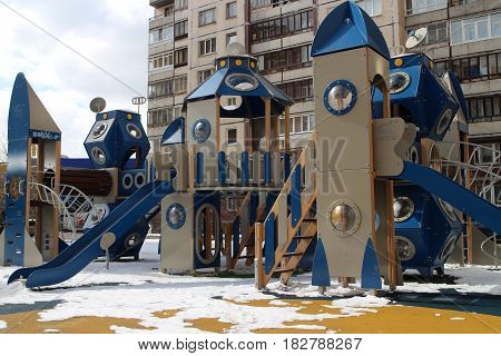 Children's Playground in the courtyard of an apartment house