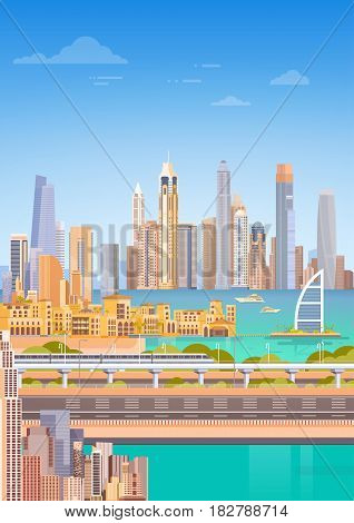 Subway Over City Skyscraper View Cityscape Background Skyline Flat Vector Illustration