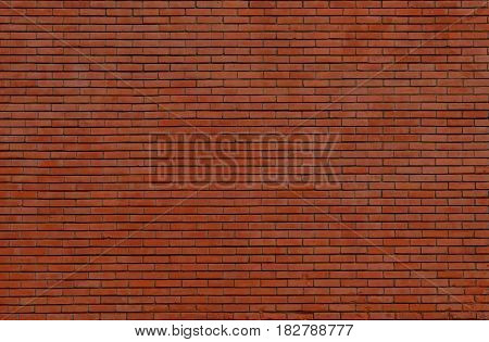 Red brown brick wall texture. Vintage exterior brickwork backdrop.