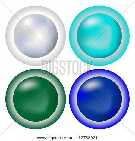 Set of elegant simply circle metallic buttons in cool colors - silver turquoise green blue