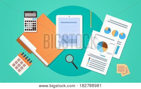 Workplace Desk Top Angle View Tablet Computer With Paper Documents Reports Finance Graph Flat Vector Illustration