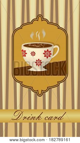 Drink card with coffee cup in nostalgic vintage style
