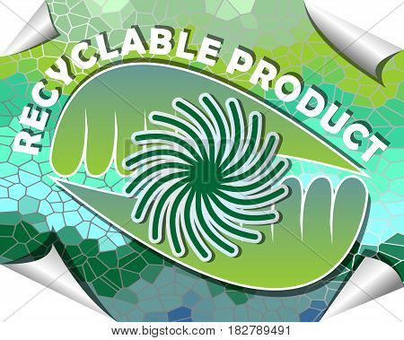 Label for recyclable product with green and blue mosaic design with rolled paper corners
