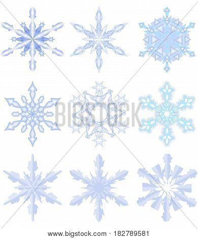 Set of nine fine snowflakes in light blue ice design