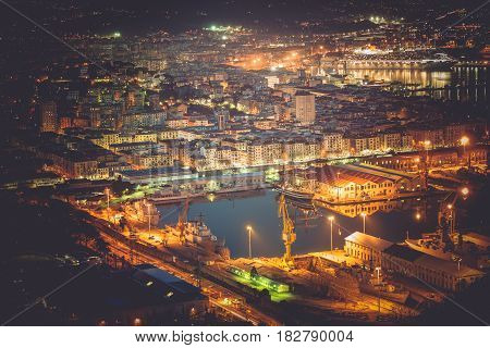 La Spezia Cityscape and Marina at Night. Liguria Italy. Cruise Ship in the Marina.