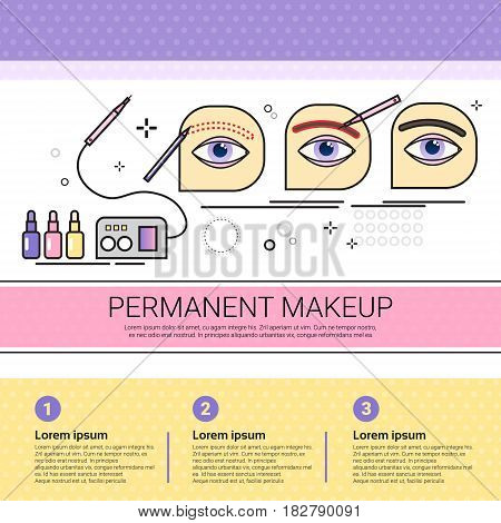 Permanent Makeup Cosmetology Infographics Salon Medical Cosmetics Procedures Set Banner With Copy Space Flat Vector Illustration