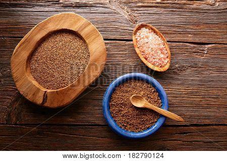 Sesame seeds gomasio seasoning ingredients with Himalayas salt